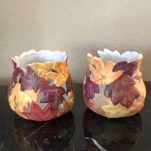 Set of two Fall leaf votive holders